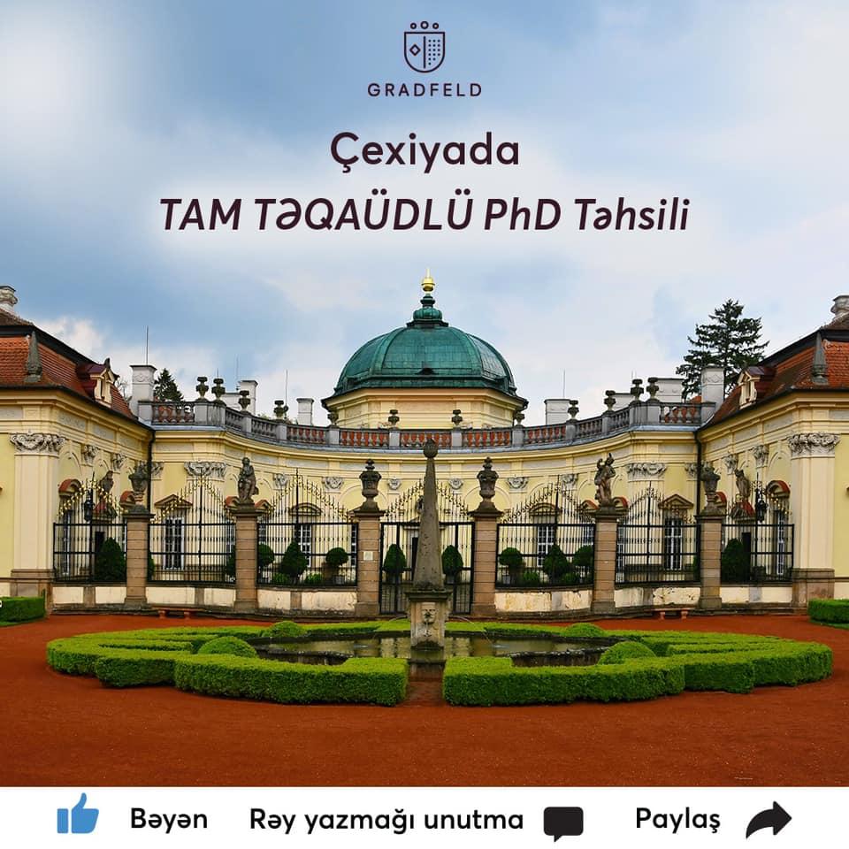 Çexiyada TAM TƏQAÜDLÜ PhD təhsili