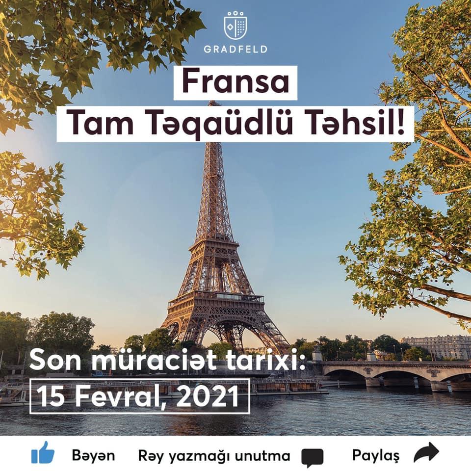 Fransada TAM TƏQAÜDLÜ təhsil müraciətləri davam edir
