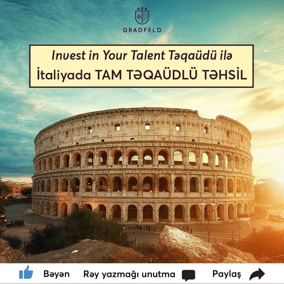 Invest in Your Talent İtaliyada təhsil üçün təqaüd